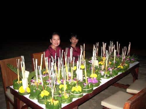 table with krathongs for the Loy Kratong celebrations