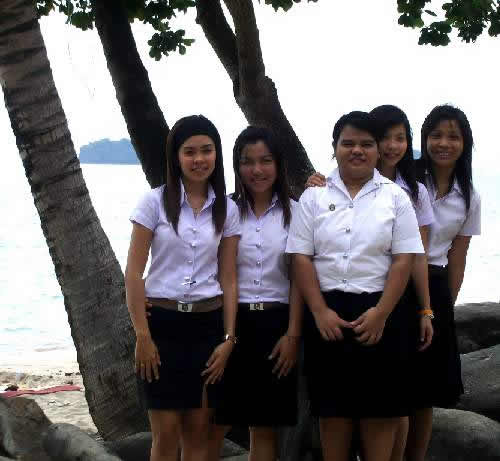 Thai students in uniform at Siam Beach Resort